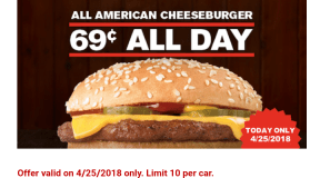 Checkers ~ Score a All American Cheeseburger for just $0.69, Today Only!
