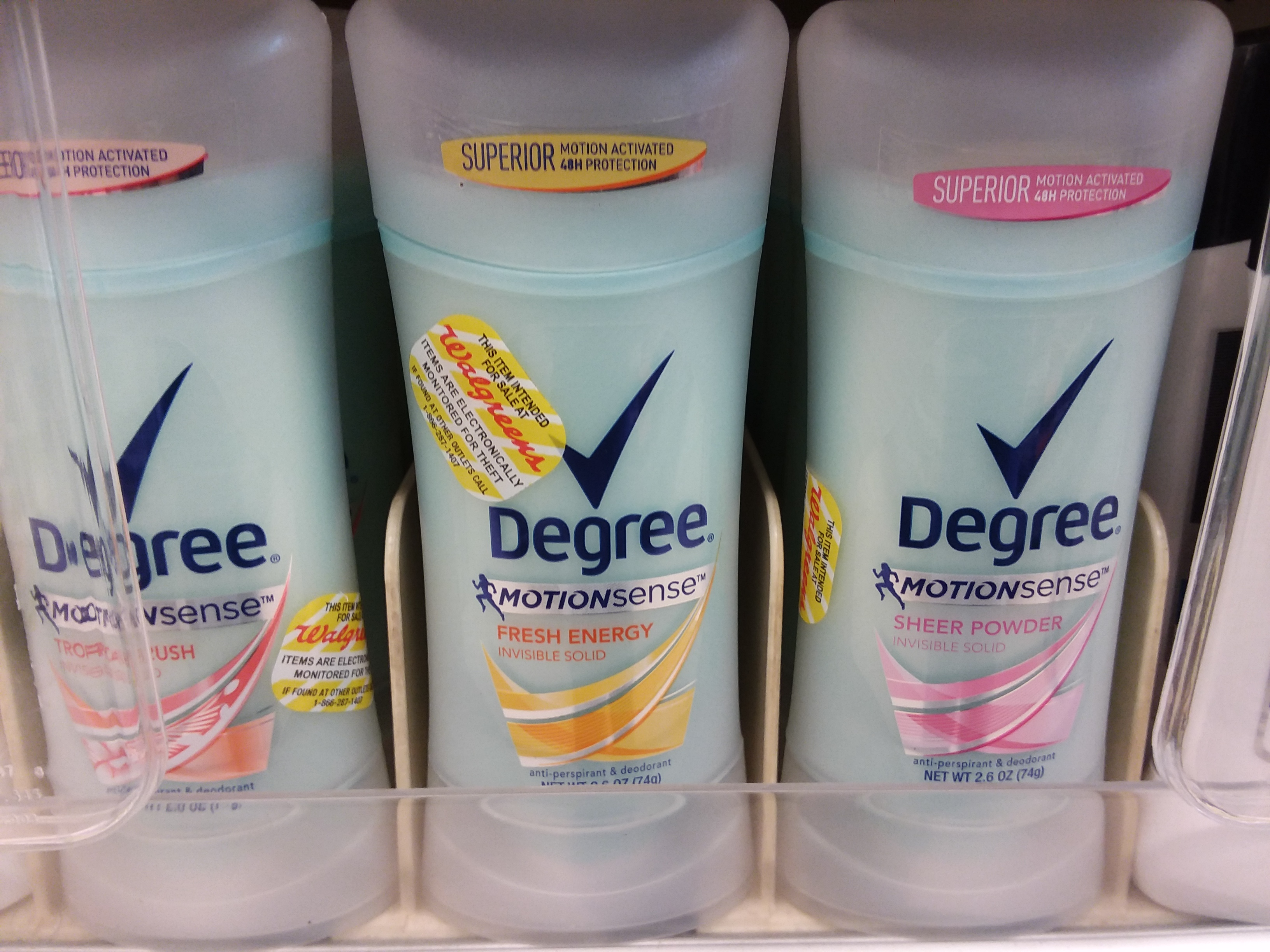 degree motionsense dedorant at walgreens