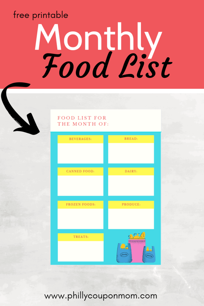 food List for the month Image
