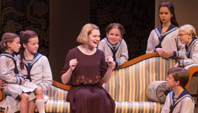 Kerstin Anderson (Maria) and the children in The Sound of Music at the Academy of Music.