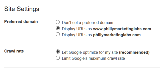 Set Preferred Domain and Crawl Rate in Search Console