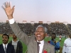 Nelson Mandela waves to the crowd in South Africa