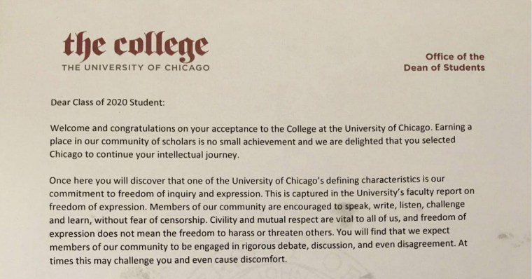 This is a photo of the letter that the University of Chicago sent to incoming students about 'trigger warnings.' Clicking the photo opens a printable PDF file of the letter, with optical character recognition applied.