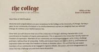 "Photo of the letter that the University of Chicago sent incoming students about ""trigger warnings."""