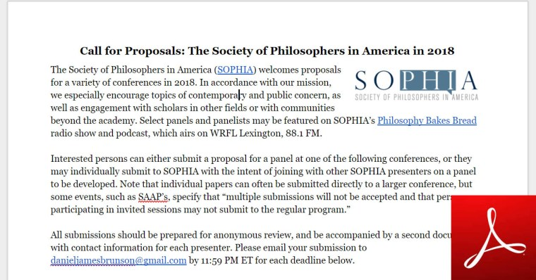 This is an image of the top of the printable, Adobe PDF version of this call for proposals.