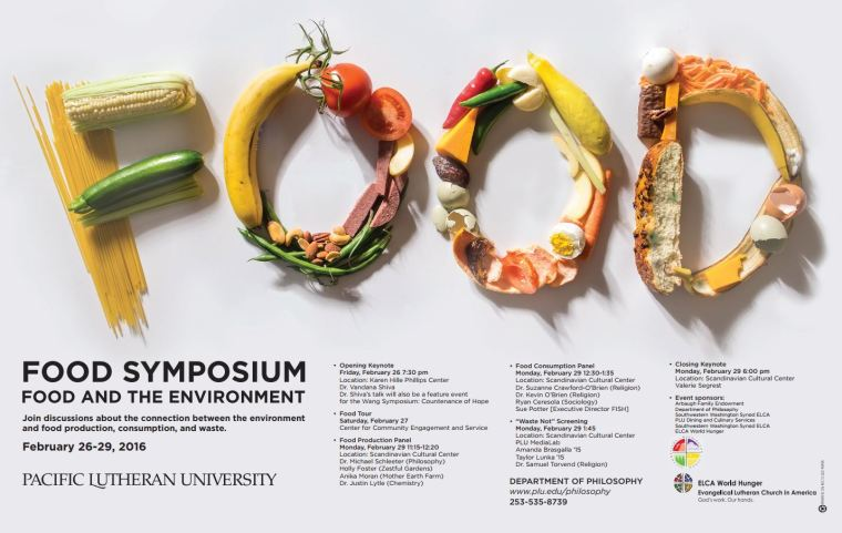 Flyer for the 2016 Food Symposium at Pacific Lutheran University.