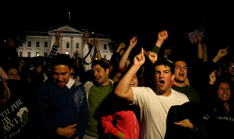 Photo of Washington, D.C. celebration in front of the White House on the day that Osama Bin Laden was killed, 2011.