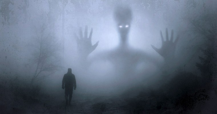 Image of a man walking towards a monster silhouetted in the mist.