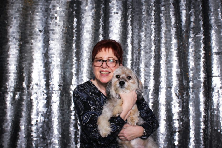 A lady and her cute dog in the culver city photo booth