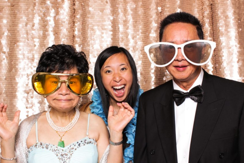 A family goofing around in the Rancho Palos Verde Photo Booth