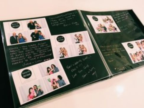 A photo showing the inside of a guestbook with photos from the photo booth next to guest messages