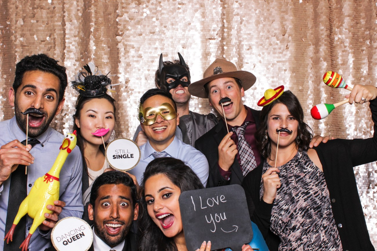 A group of friends having fun in the pasadena photo booth