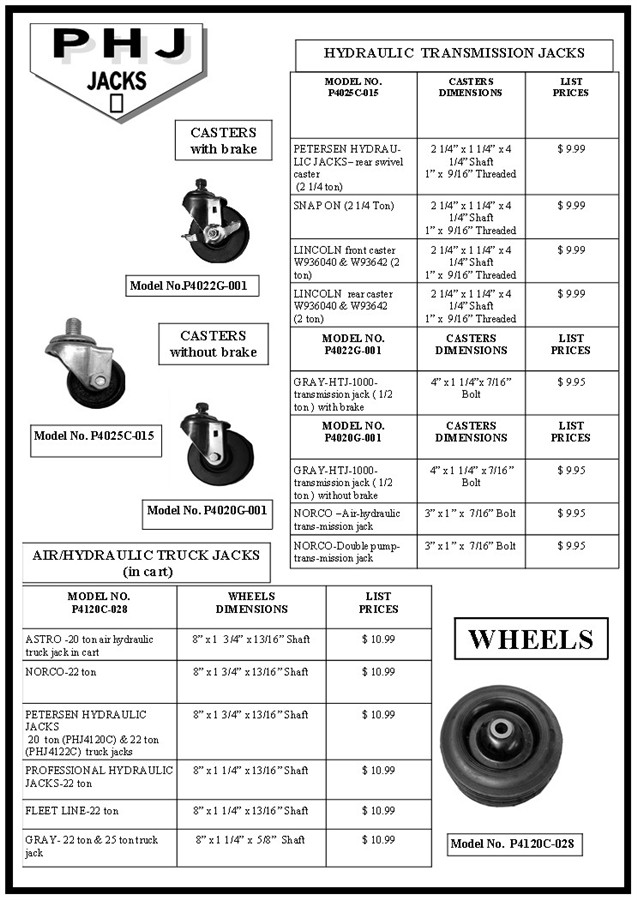 phjjacks.com: REPLACEMENT CASTERS AND WHEELS