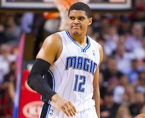 Mar 6, 2013; Miami, FL, USA; Orlando Magic small forward Tobias Harris (12) reacts after fouling out of the game against the Miami Heat during the second half at the American Airlines Arena. The Heat defeated the Magic 97-96. Mandatory Credit: Scott Rovak-USA TODAY Sports