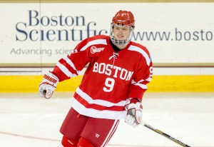 CHESTNUT HILL, MA - NOVEMBER 7: Jack Eichel #9 of the Boston University Terriers skates during warm-ups before the NCAA game against the Boston College Eagles at Kelley Rink on November 7, 2014 in Chestnut Hill, Massachusetts. (Photo by Richard T Gagnon/Getty Images)