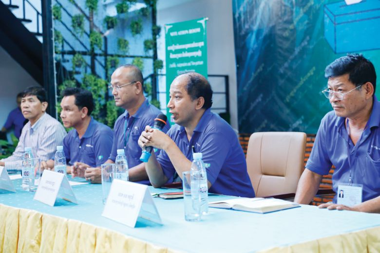 "Speakers discuss the recent commune elections at a press conference held from the ""Situation Room"" last month in Phnom Penh."
