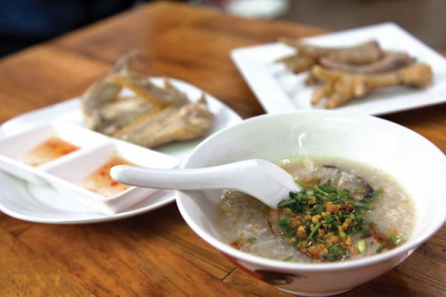 Even in a restaurant setting, Khmer Chicken Porridge's dishes cost only 2,500 riel.
