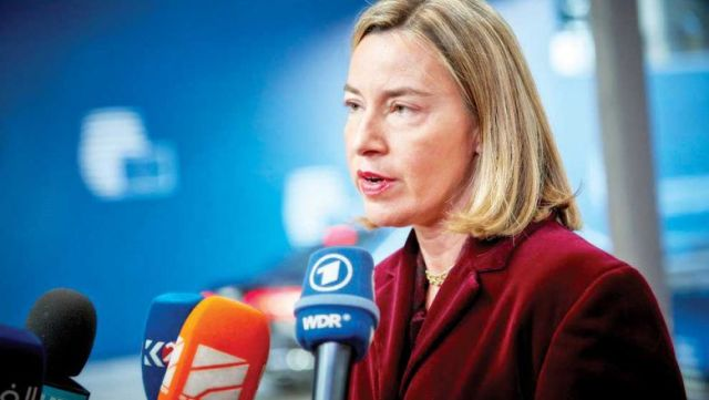 Federica Mogherini, the top EU official for foreign affairs, speaks to the media in February. She recently announced an observation mission to Cambodia to scrutinise the EU's preferential trade agreement with the Kingdom. european union