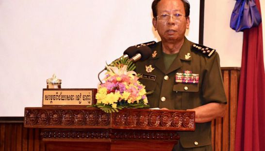 Defence Minister Tea Banh speaks to officials on Monday at the Defence Ministry in Phnom Penh.