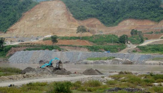 Construction at the Xayaburi dam site in Laos in June 2012