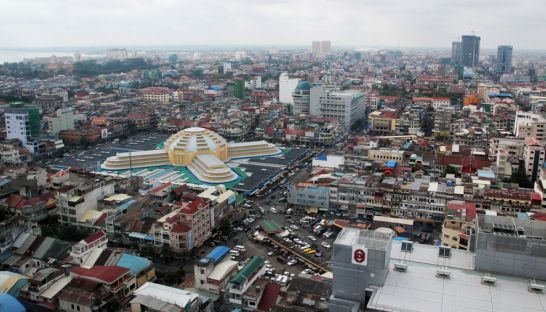 An aerial view of Phnom Penh's Central Market and surroundings.