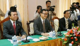 Opposition leaders Kem Sokha and Sam Rainsy