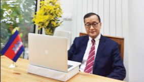 Former opposition leader Sam Rainsy, pictured at his home in Paris last month. Facebook