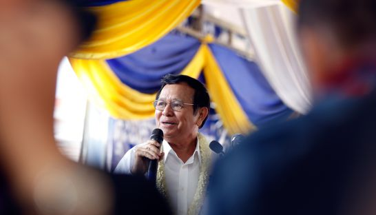 Newly elected CNRP president Kem Sokha speaks at an extraordinary party congress to confirm new party leadership yesterday in the capital.