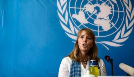 UN Special Rapporteur Rhona Smith speaks to the media at the United Nation's Office of the High Commissioner for Human Rights during a previous visit in September.
