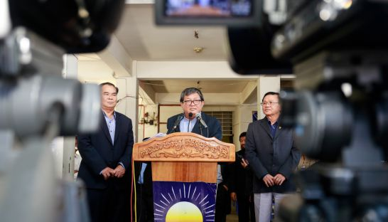 CNRP chief whip Son Chhay addresses reporters yesterday at the party's headquarters in Phnom Penh.