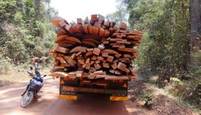 A truck containing rosewood suspected to have been logged illegally in Kampong Thom province