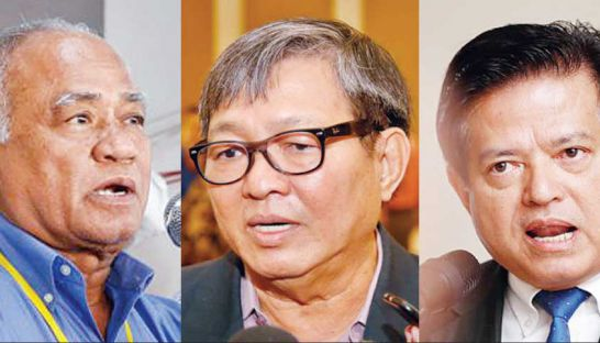 CNRP lawmakers (from left) Pol Ham, Son Chhay and Yem Ponhearith are allegedly among those under investigation by the Interior Ministry. post staff