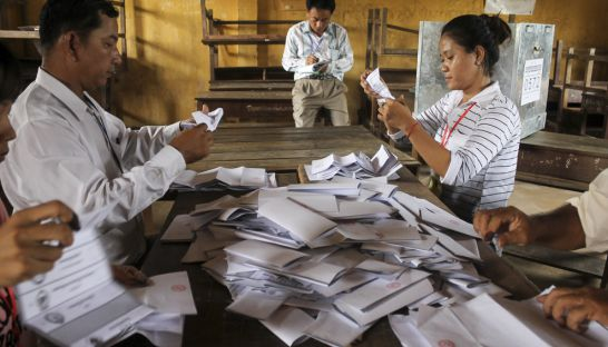 Election officials tally votes at a ballot station in Prey Veng in 2013. Yesterday the Electoral Reform Alliance met to continue discussing a road map for free and fair election standards.