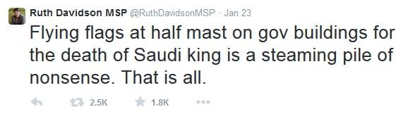 Ruth Davidson Saudi Tweet