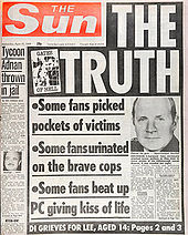 The Sun's Front Page after Hillsborough Disaster