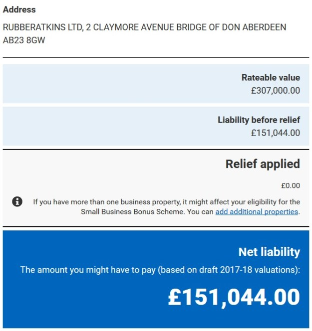 Rubberatkins business rates 2017