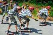 Life – composited skateboarder wildly wheelsliding
