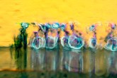 Abstract – wet line of boy's and girl's bikes for sale in the rain