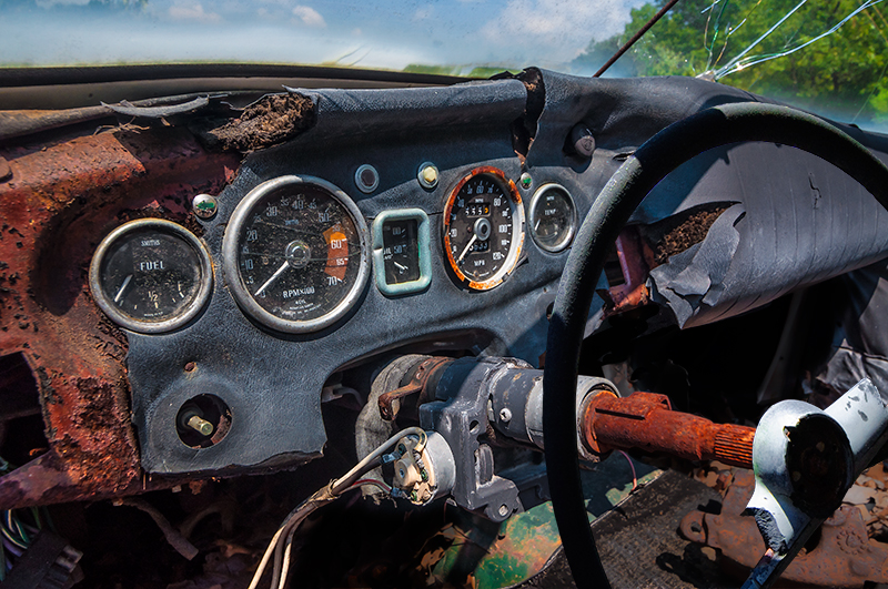 Man-made – dashboard of a junk car
