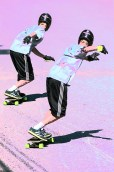 Graphic – composite skateboarder making a turn