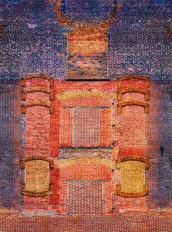 Fantasy – pareidolia wall figure of samurai in brick armor