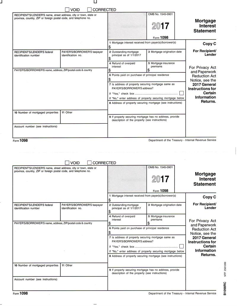 Form 1098, Mortgage Interest Statement, Recipient Copy C
