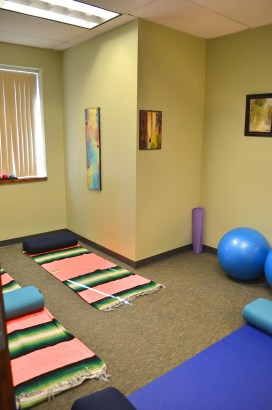 Our meditation room is a gentle space complete with mats and blankets, bolsters, and dim lighting to create the perfect relaxing atmosphere for the body and soul