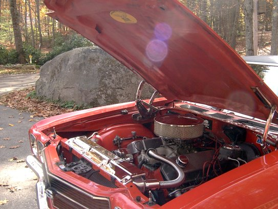 Hi Greg, This is my 1970 Chevelle. I both show and Drag race this car at New England Drag Strip . It came with a 396 cu in with 375 HP. A three speed auto with a limited slip pos rear end. The engine has been bored 30 over and has had all the good stuff done to the inside you can do. It has a air gap intake manifold with edlebrok 800CFM carb. Dual electric fans with a new aluminum radiator. Estimated HP is around 475. It now has a very strong limted slip posi rear end with 411 gears and your four speed auto. Your transmission works great in this car. I can run strong and cruise with out sounding like you need to shift. This car got into the twelves (12.88) one cool night. It runs (13.21) all day long around 118 MPH not bad for a car that weighs 3,991 Lbs. I want to thank you all at Phoenix tranmission products. You always are willing to help and go the extra mile to make sure we the customers are happy. Again my thanks Dave Vokey