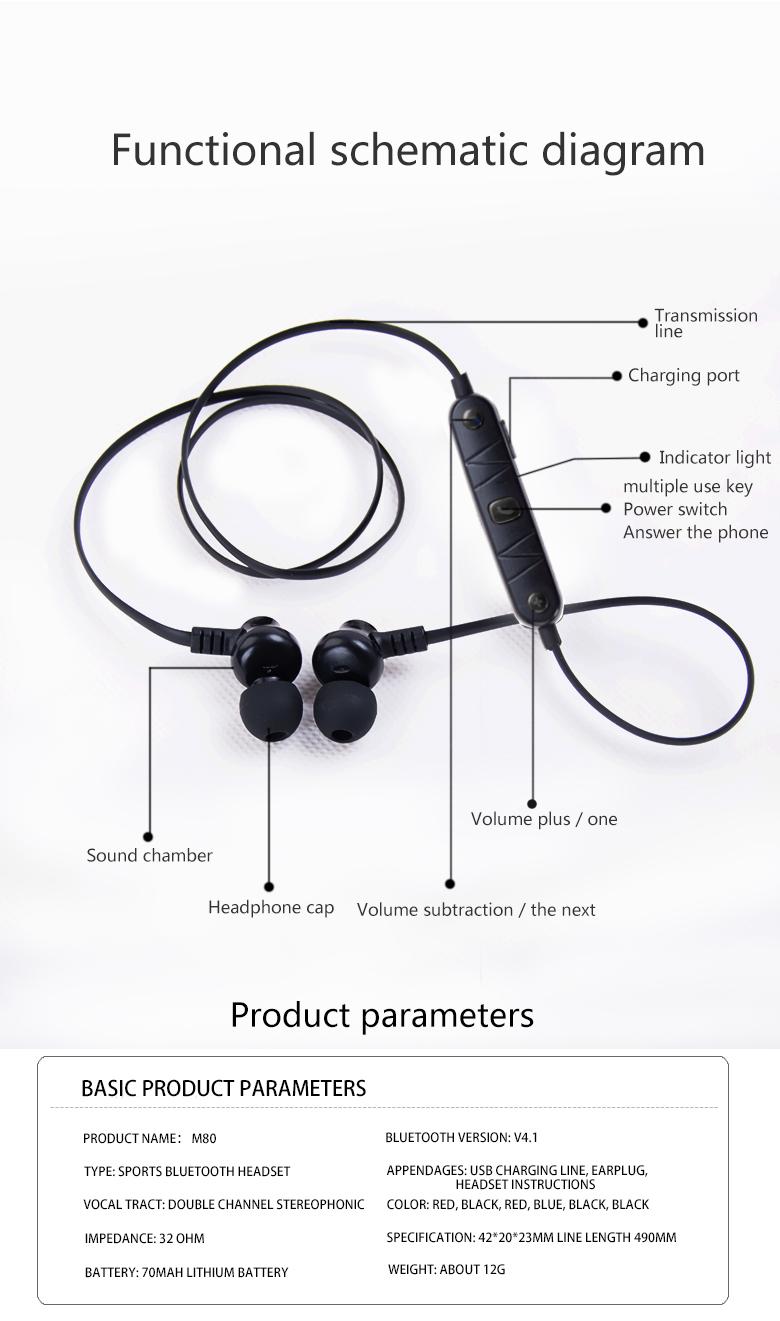 hight resolution of  headset jack m80 bluetooth headset magnet sport running wireless headphone 4 2 on apple headphone wire diagram
