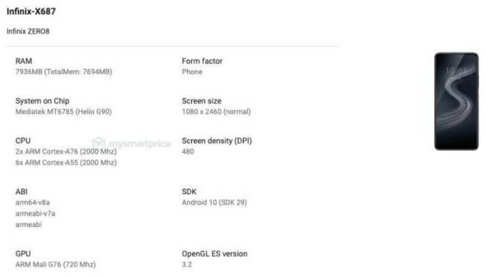 Infinix Zero 8 google listing