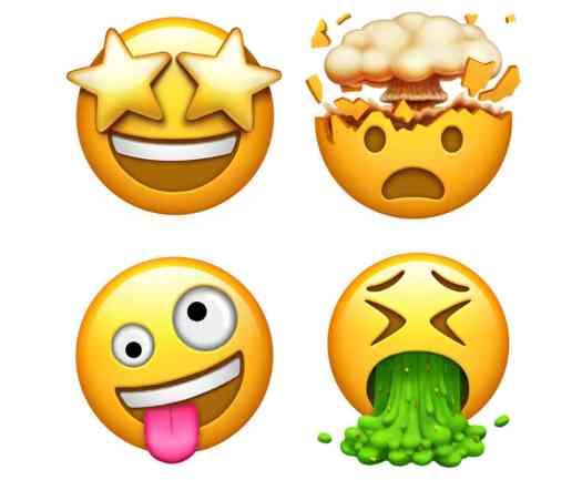 Apple new emoji starry eyes, vomit, mind blown, silly