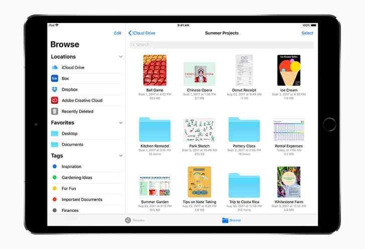 iOS 11 Files app iPad