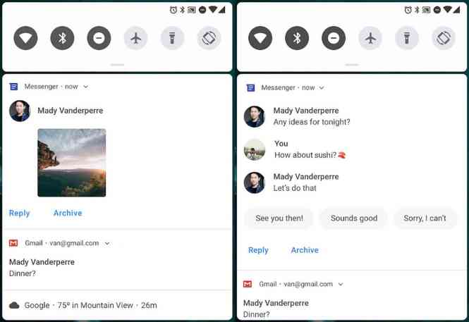 Android P messaging notifications