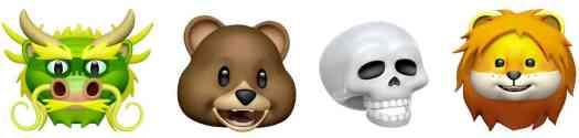 iOS 11.3 new Animoji dragon, bear, skull, lion